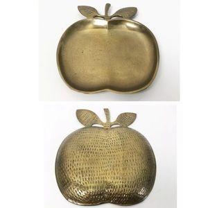 Brass Apple Trinket Dish Vanity Tray Teacher Gift